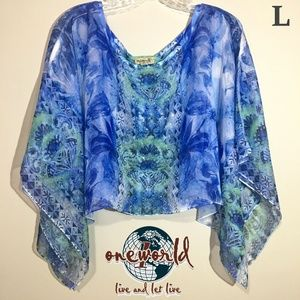 One World Should Cover Blue Green Size Large
